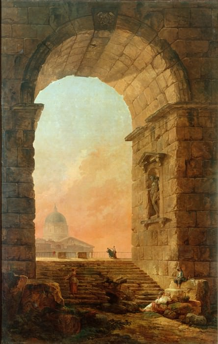 Robert, Hubert - Landscape with an Arch and The Dome of St Peters in Rome. Hermitage ~ part 14 (Hi Resolution images)