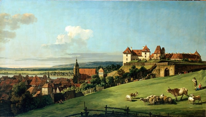 Bellotto, Bernardo - View of Pirna from the Sonnenstein Castle. Hermitage ~ part 14 (Hi Resolution images)