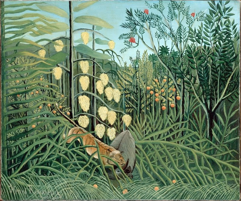 Rousseau, Henri - In a Tropical Forest. Struggle between Tiger and Bull. Hermitage ~ part 14 (Hi Resolution images)