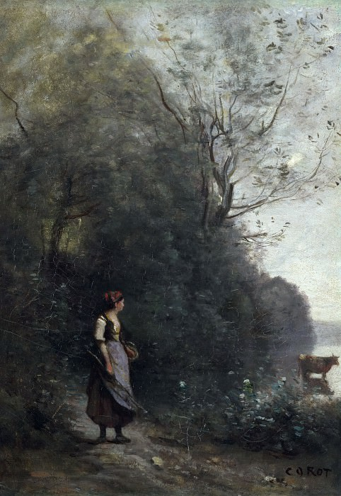 Jean-Baptiste Camille Corot (1796–1875) - Peasant Girl Grazing a Cow at the Forest. Hermitage ~ part 14 (Hi Resolution images)