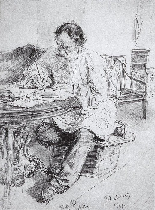 LA Tolstoy at work at the round table. 1891. Ilya Repin