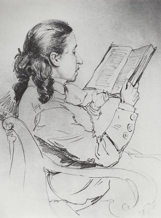 Portrait EG Mamontova reading. 1879. Ilya Repin