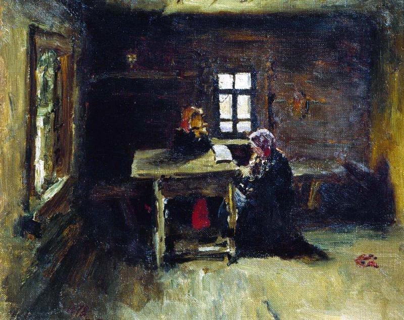 In the hut. 1878. Ilya Repin