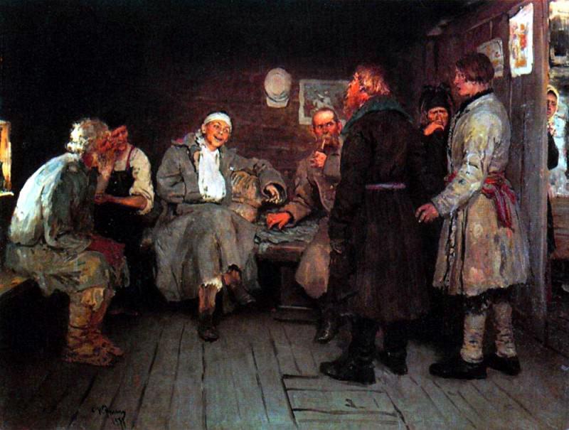 Returning from the war. 1877. Ilya Repin