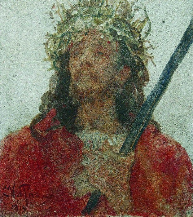 Jesus in a crown of thorns. 1913. Ilya Repin