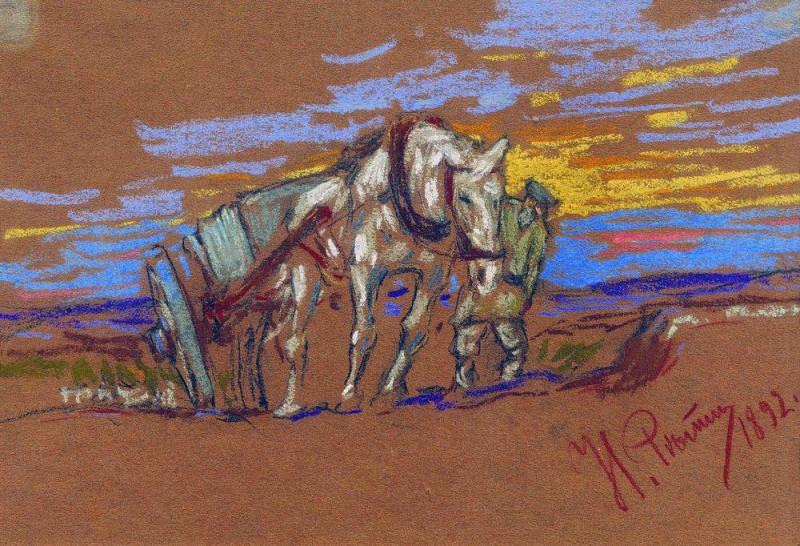 pulling a horse. 1892. Ilya Repin