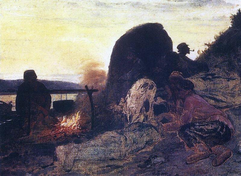Boatmen campfire. 1870-1872. Ilya Repin