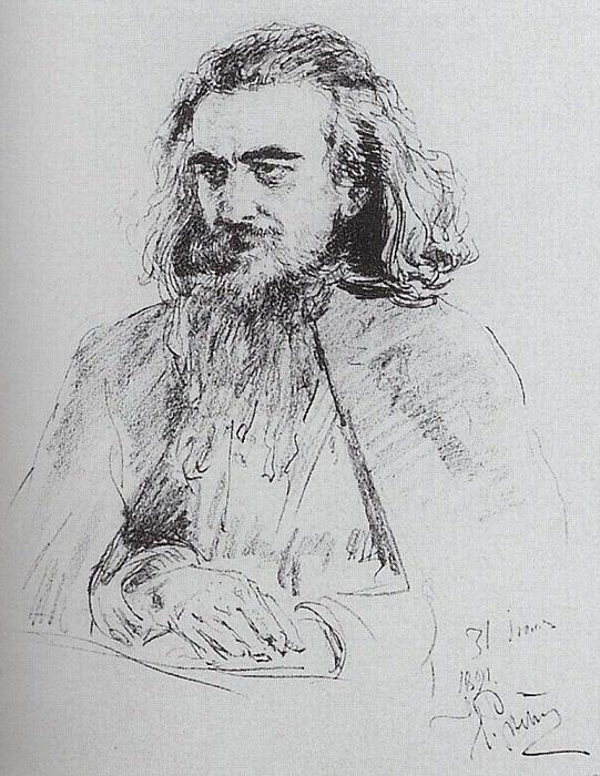 Portrait of Vladimir Sergeyevich Solovyov. 1891. Ilya Repin