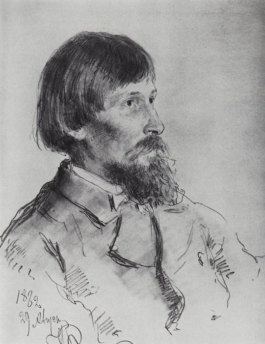 Portrait of Victor Vasnetsov. 1882. Ilya Repin