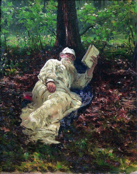 Leo Tolstoy on vacation in the woods. 1891. Ilya Repin