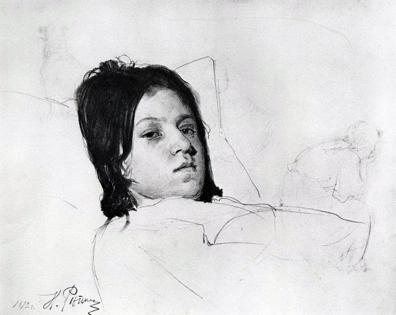 Womans Head (VA Repin, lying in bed). 1872. Ilya Repin