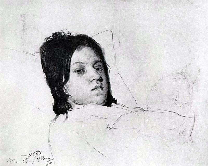 Женская голова (В. А. Репина, лежащая в постели). 1872. Илья Ефимович Репин