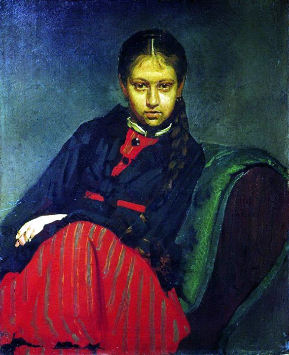 Portrait VA Shevtsova, later wife of the artist. 1869. Ilya Repin