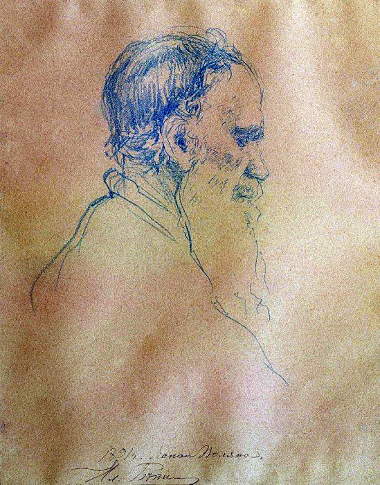 Portrait of Leo Tolstoy. Ilya Repin