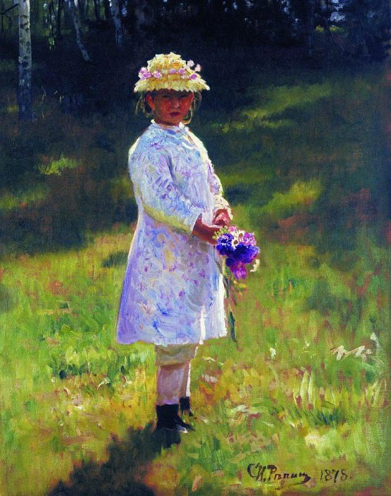 Girl with Flowers (Daughter). 1878. Ilya Repin