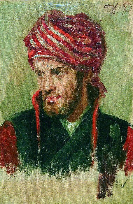 Portrait of a young man in a turban. Ilya Repin