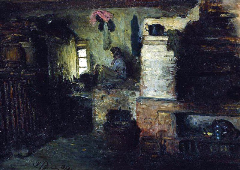 In the hut. 1895. Ilya Repin