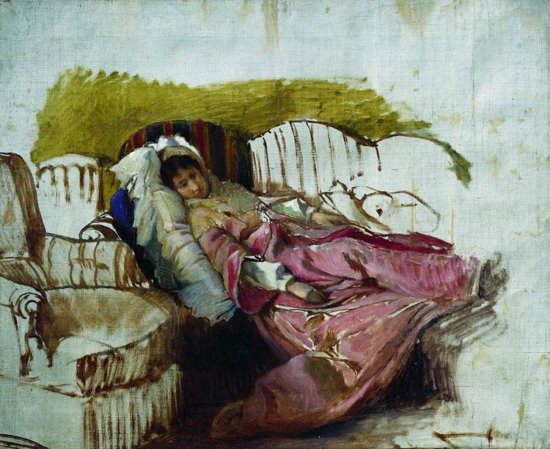 On the sofa. The first half of 1880. Ilya Repin