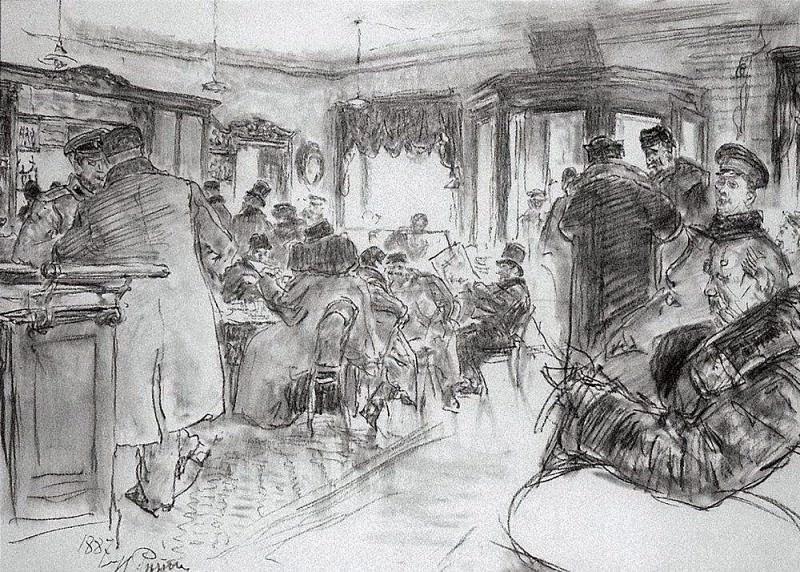 At Dominic. 1887. Ilya Repin