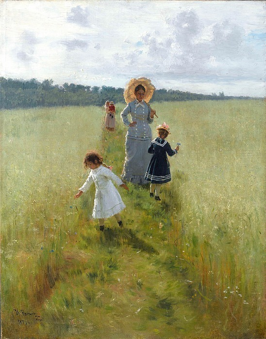 On the border. V.A. Repina with children walks along the border. Ilya Repin