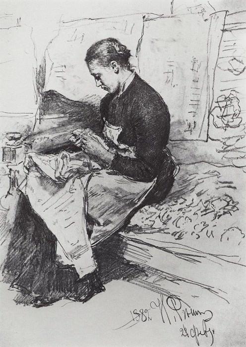 Seamstress. 1882. Ilya Repin