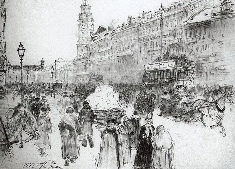 Nevsky Prospekt. 1887. Ilya Repin