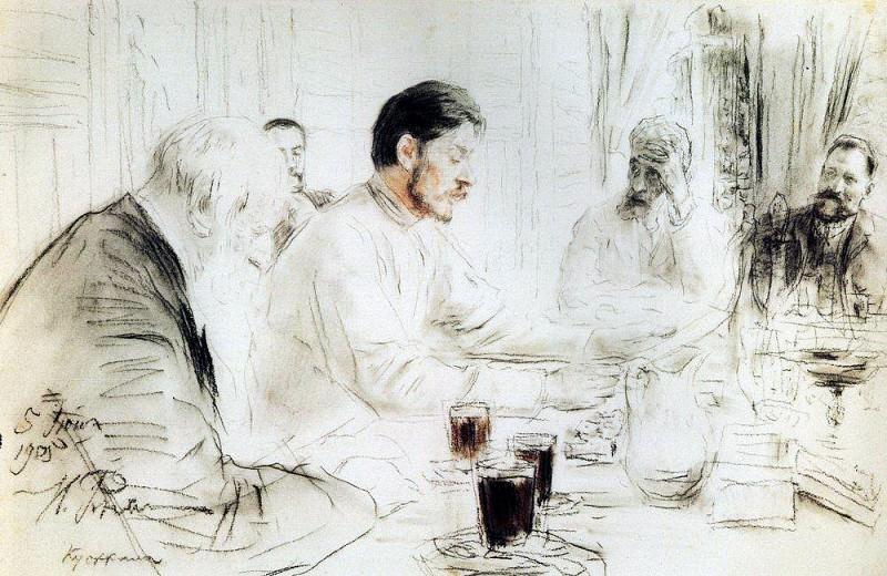 M. Bitter reads in Penaty his drama Children of the sun. 1905. Ilya Repin
