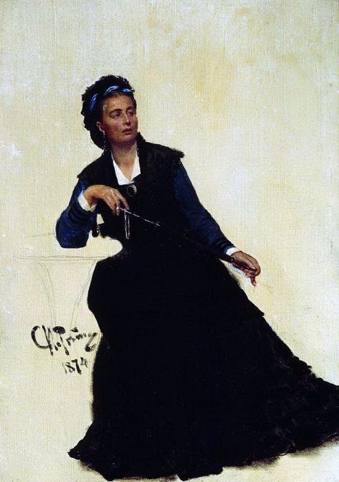 lady playing umbrella. 1874. Ilya Repin