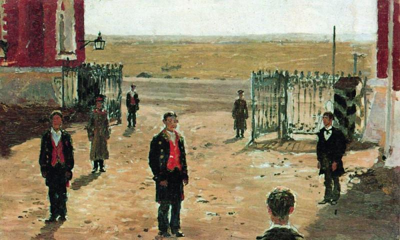 Yard Petrovsky Palace. 1885. Ilya Repin