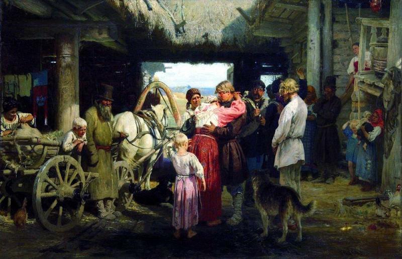 Seeing recruit. 1879. Ilya Repin