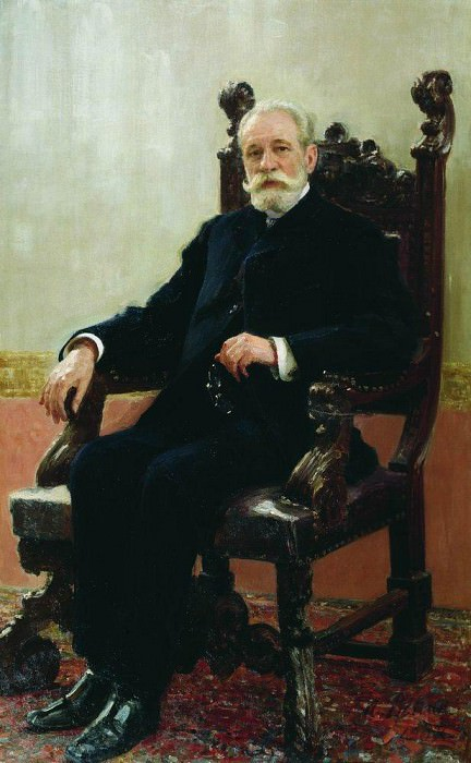 Portrait of Chairman Azov-Don Commercial Bank in St. Petersburg AB Nenttselya. 1908. Ilya Repin