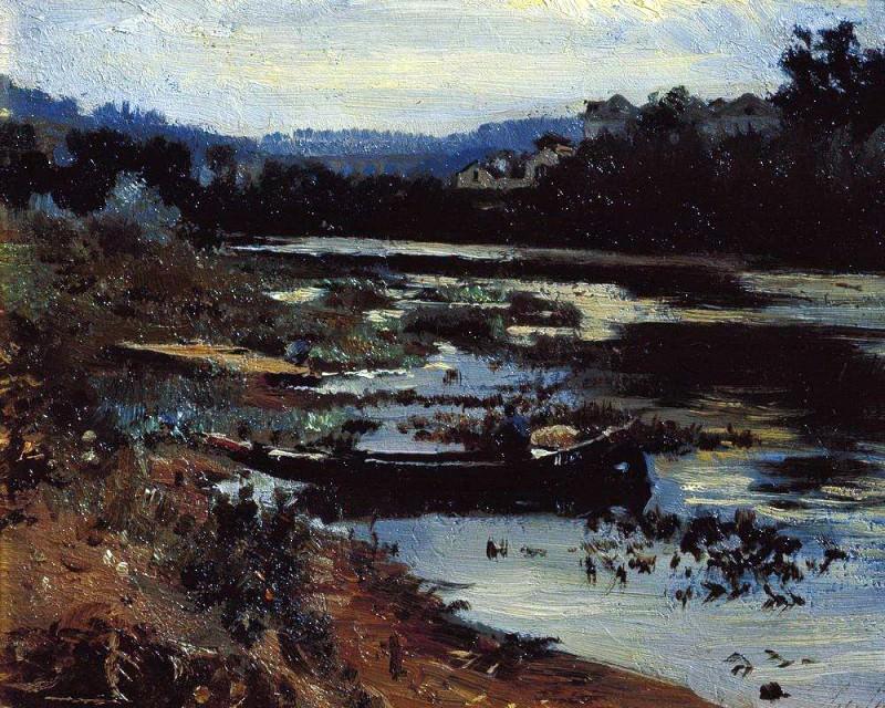 Landscape with a boat. 1875. Ilya Repin