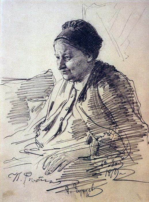 Portrait of TS Repina, mother of the artist. 1879. Ilya Repin