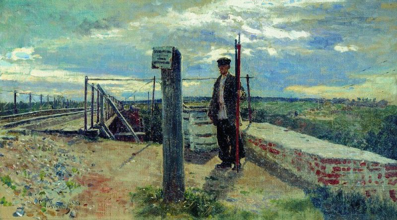 Railway guard. Hotkovo. 1882. Ilya Repin