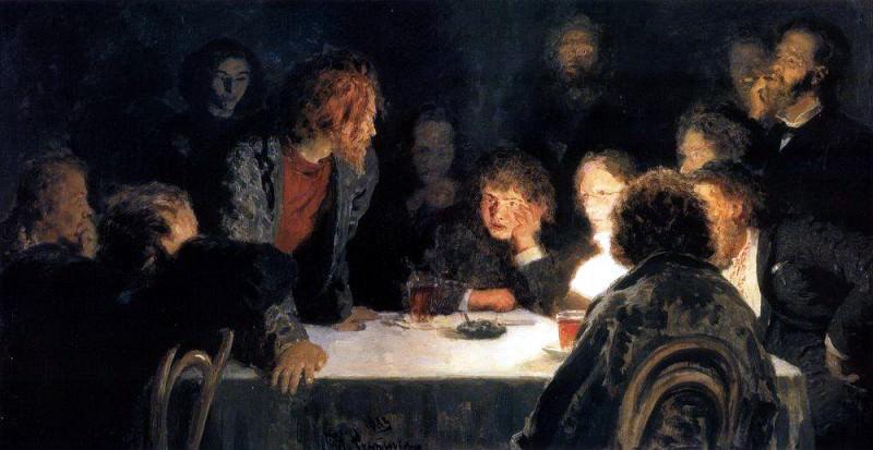 Сходка ( При свете лампы ). 1883. Илья Ефимович Репин