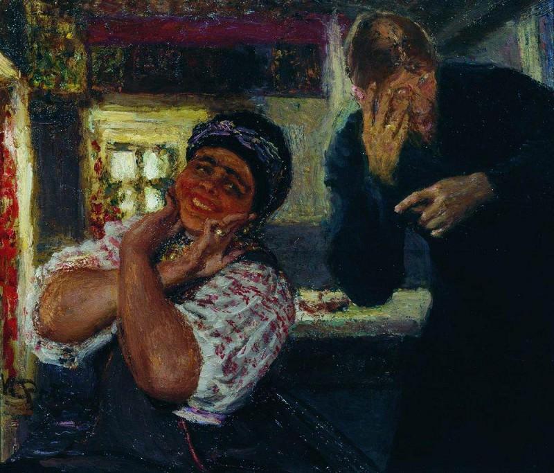 Solokha and deacon. 1926. Ilya Repin
