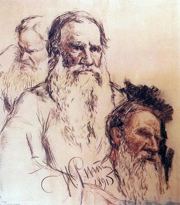 Studies of Leo Tolstoy. 1891. Ilya Repin