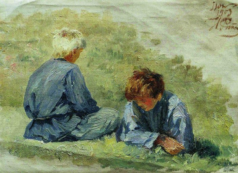 Boys on the grass. 1903. Ilya Repin