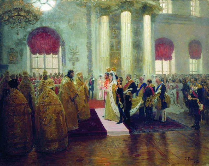 Wedding of Nicholas II and Grand Duchess Alexandra Feodorovna. 1894. Ilya Repin