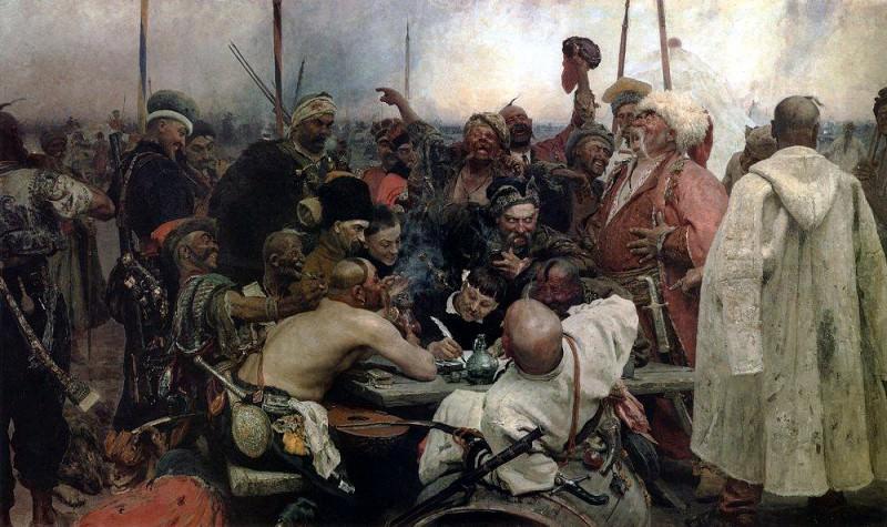 Zaporozhye Cossacks Writing a Letter to the Turkish Sultan. 1880-1891. Ilya Repin
