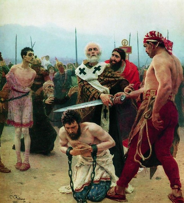 Nicholas of Myra eliminates the deaths of three innocents. 1888. Ilya Repin