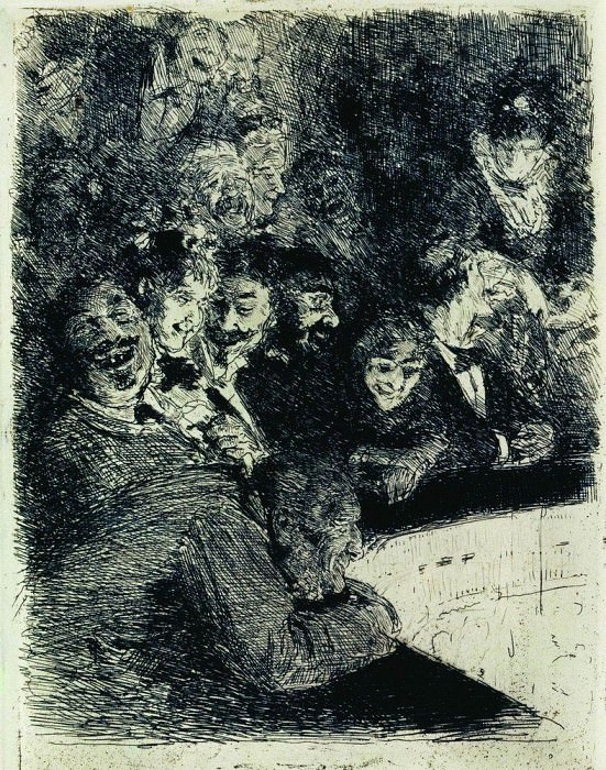 In the upper tier of the theater. Ilya Repin