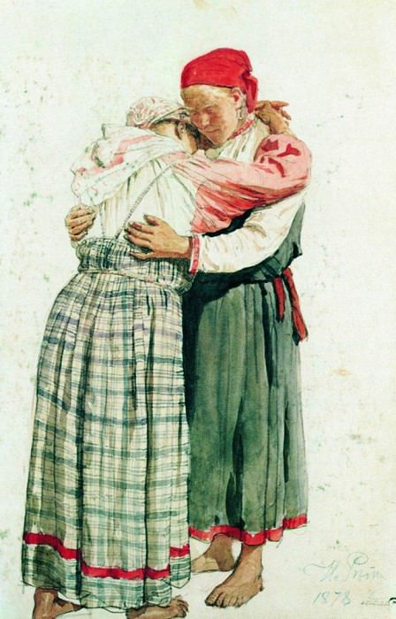 Two female figures (embraces peasant). 1878. Ilya Repin
