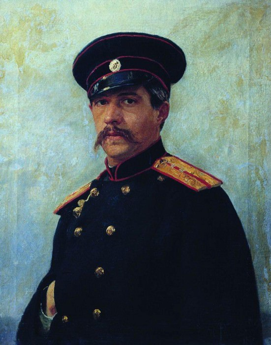 Portrait of a military engineer, Captain A. Shevtsova (1847-1919), brother of the artists wife. 1876. Ilya Repin