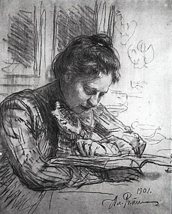 For reading (Portrait of Natalia Borisovny Nordman). 1901. Ilya Repin