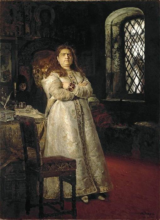 Tsarevna Sofya Alekseevna a year after her imprisonment in the Novodevichy Convent, during the execution of archers and torture of all her servants in 1698. Ilya Repin