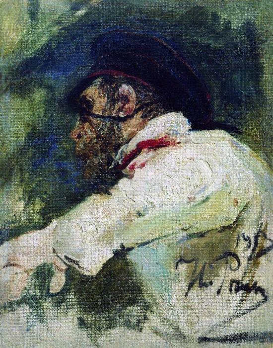 Man in white jacket. 1913. Ilya Repin