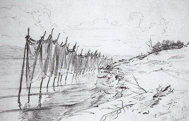 Fishermen net. Shiryaevo. 1870. Ilya Repin
