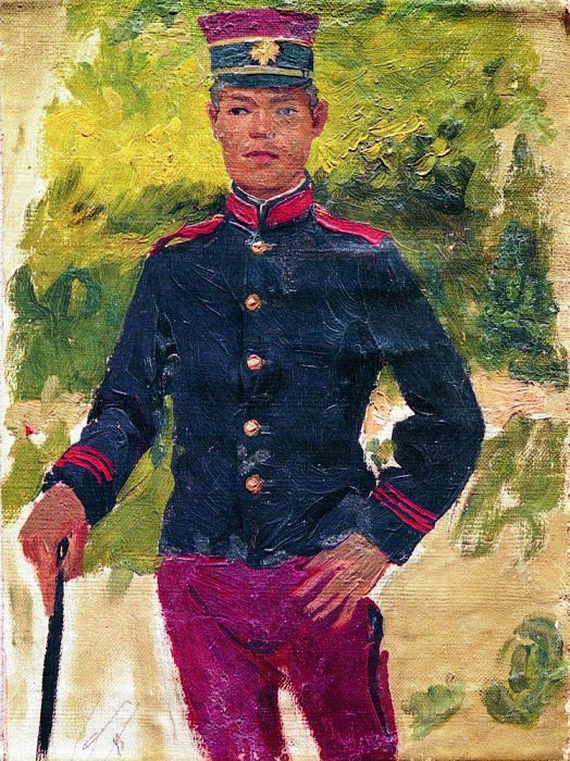 young soldier. Paris type. 1870. Ilya Repin