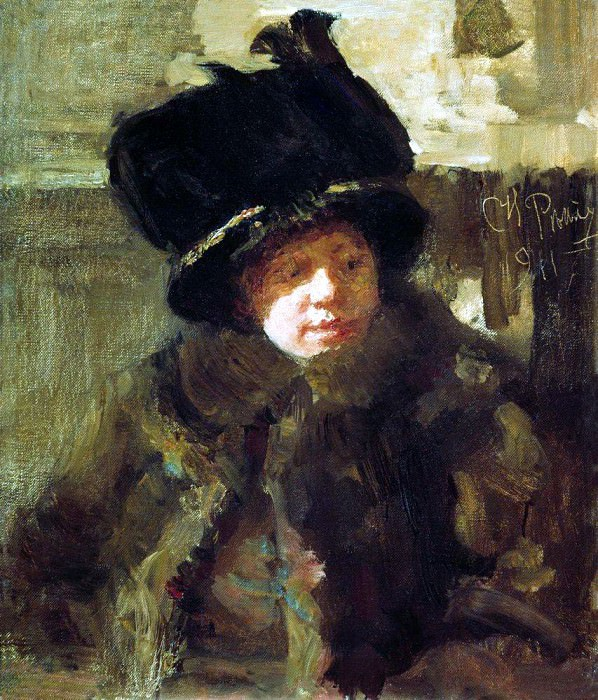 Portrait of the writer Natalia Nordman-Bori Severova, wife of the artist. 1911. Ilya Repin